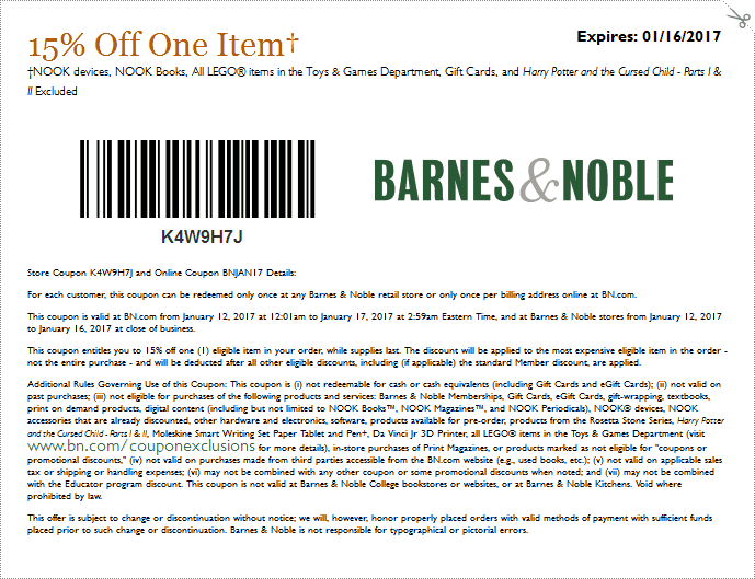 Barnes&Noble.com Promo Coupon 15% off a single item at Barnes & Noble, or online via promo code BNJAN17