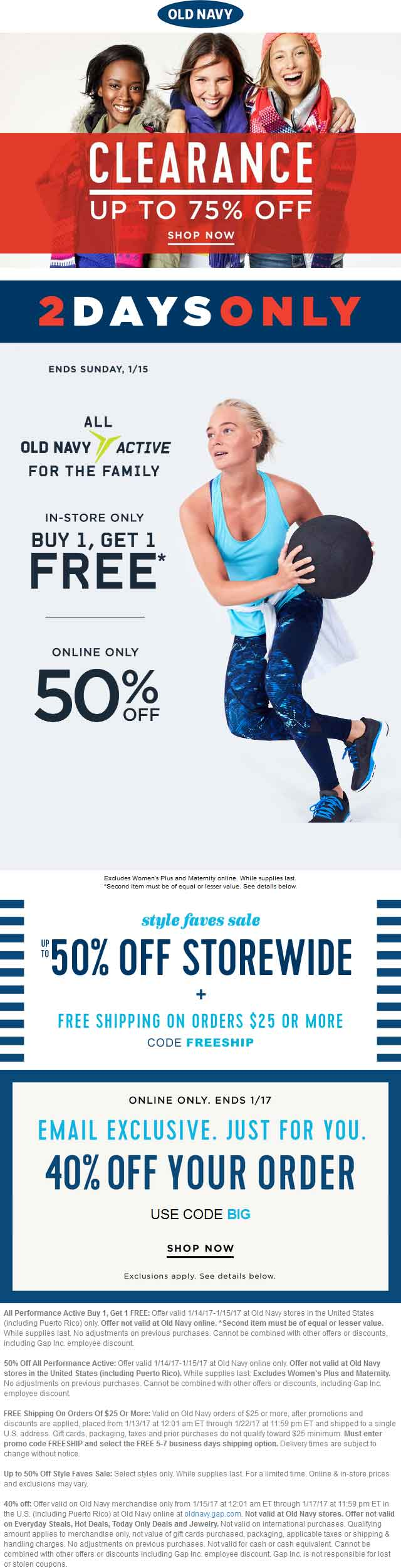 OldNavy.com Promo Coupon Second activewear item free at Old Navy, or 40% off everything online via promo code BIG