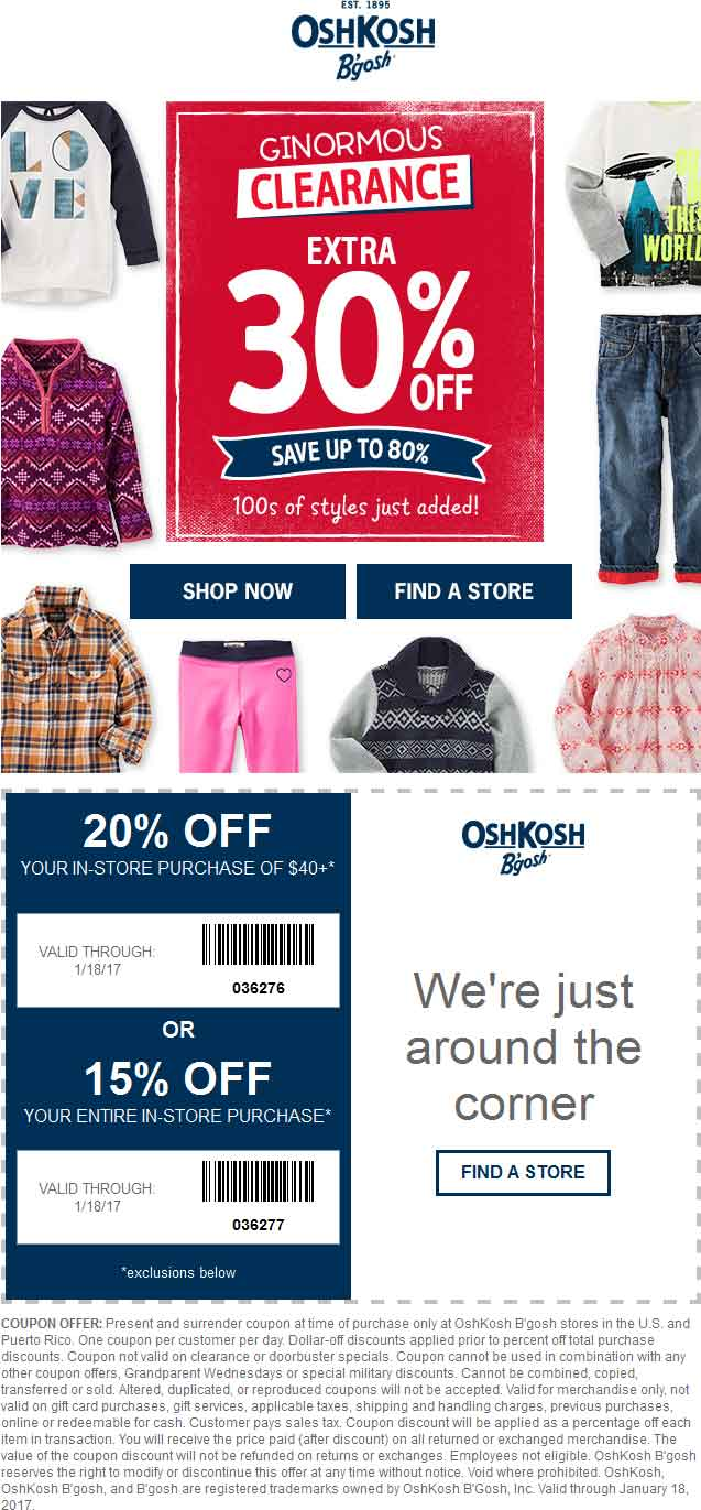Osh Kosh B'Gosh Coupons Top Brands & Savings · New Offers Added Daily · + Coupons AvailableTypes: Specialty Stores, Grocery Stores, Factory Outlets, Retail Chains, Restaurants.