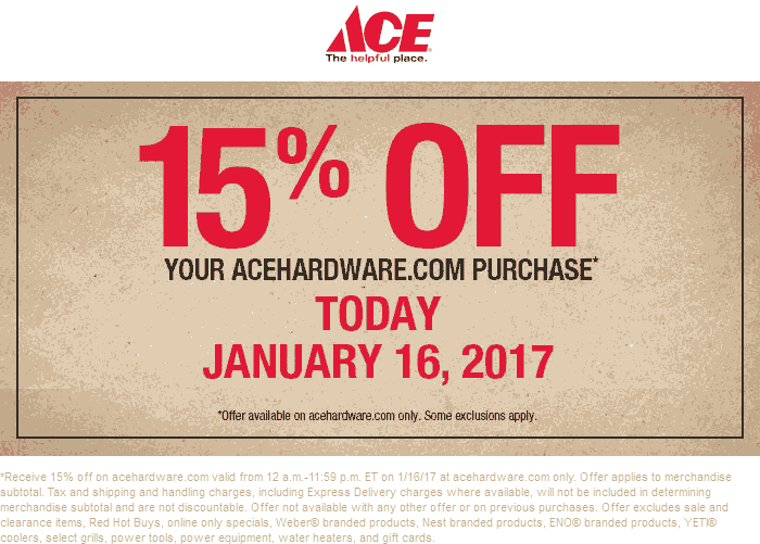 AceHardware.com Promo Coupon 15% off online today at Ace Hardware - no code needed