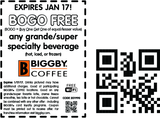 BiggbyCoffee.com Promo Coupon Second beverage free at Biggby Coffee