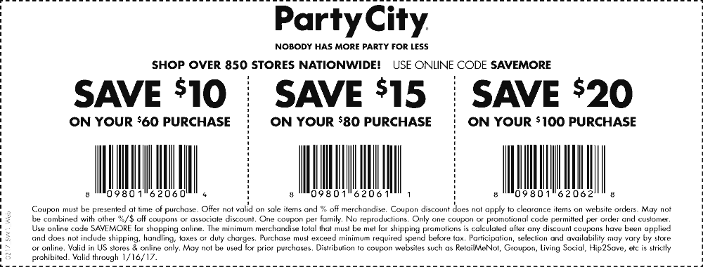 PartyCity.com Promo Coupon $10 off $60 & more today at Party City, or online via promo code SAVEMORE
