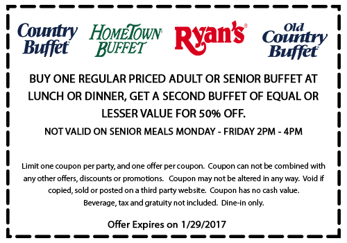 OldCountryBuffet.com Promo Coupon Second buffet 50% off at Ryans, HomeTown Buffet & Old Country Buffet restaurants