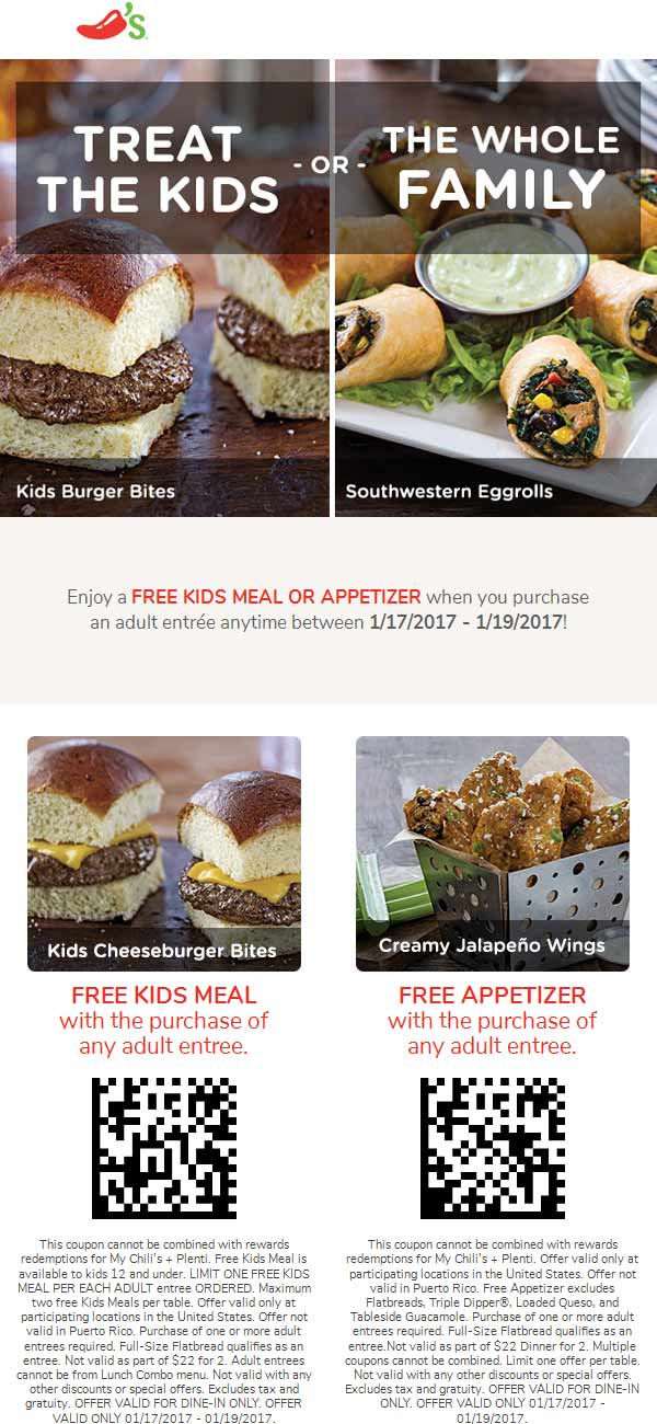 Chilis.com Promo Coupon Free appetizer or kids meal with your entree at Chilis