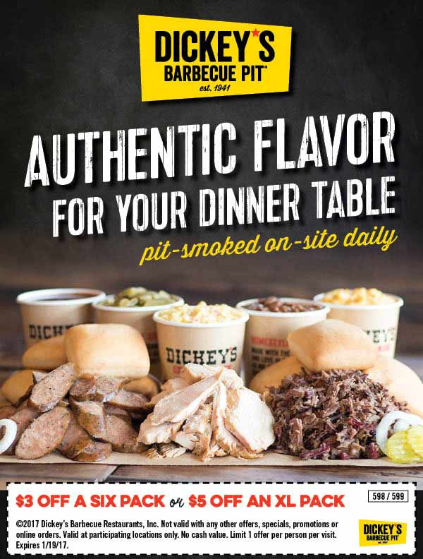 DickeysBarbecuePit.com Promo Coupon $3-$5 off meal packs at Dickeys Barbecue Pit