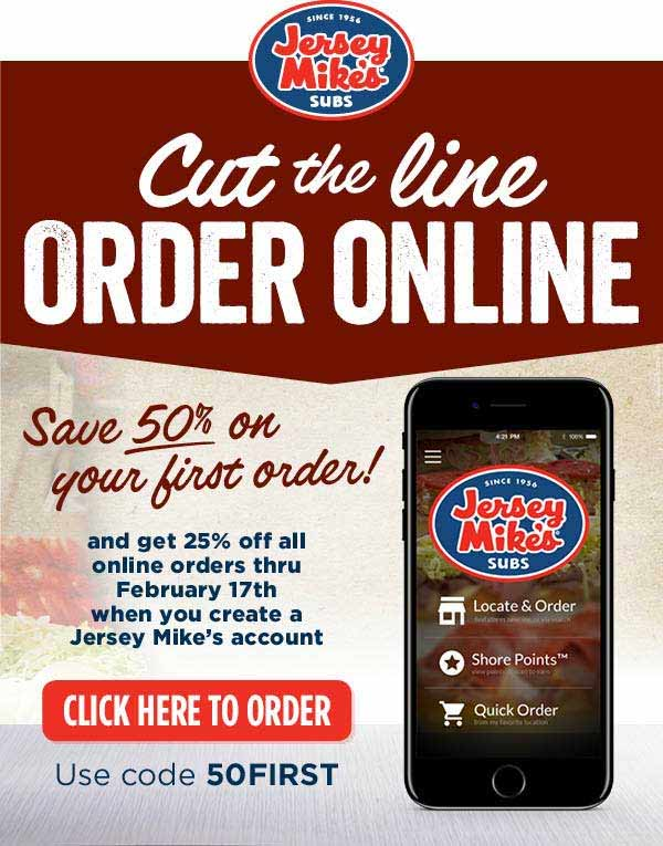 JerseyMikes.com Promo Coupon 50% off your 1st order, 25% off others online at Jersey Mikes subs via promo code 50FIRST