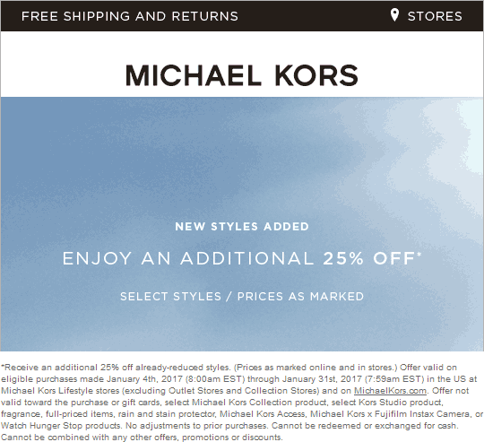 Michael Kors Coupon August 2018 Extra 25% off at clearance at Michael Kors, ditto online