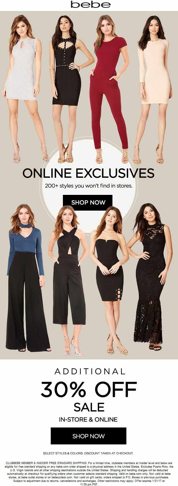 Bebe.com Promo Coupon Extra 30% off at bebe, ditto online