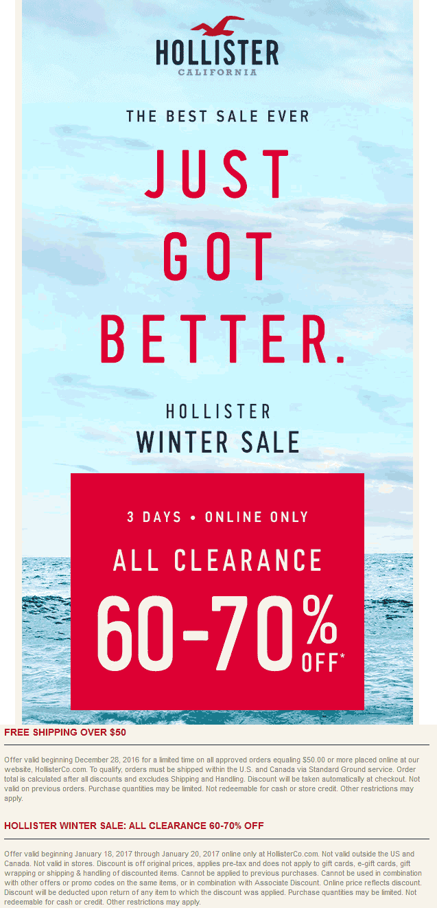 Hollister.com Promo Coupon Extra 60-70% off clearance online at Hollister