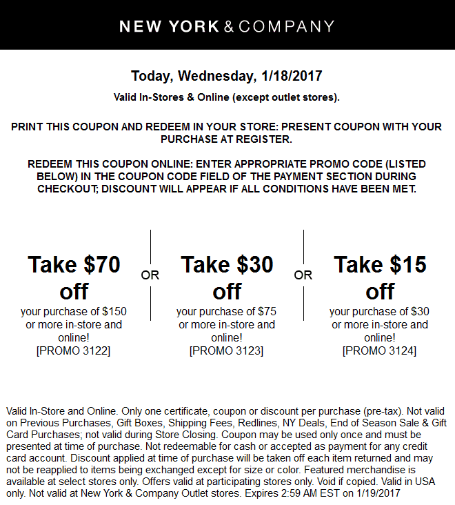 NewYork&Company.com Promo Coupon $15 off $30 & more today at New York & Company, or online via promo code 3124