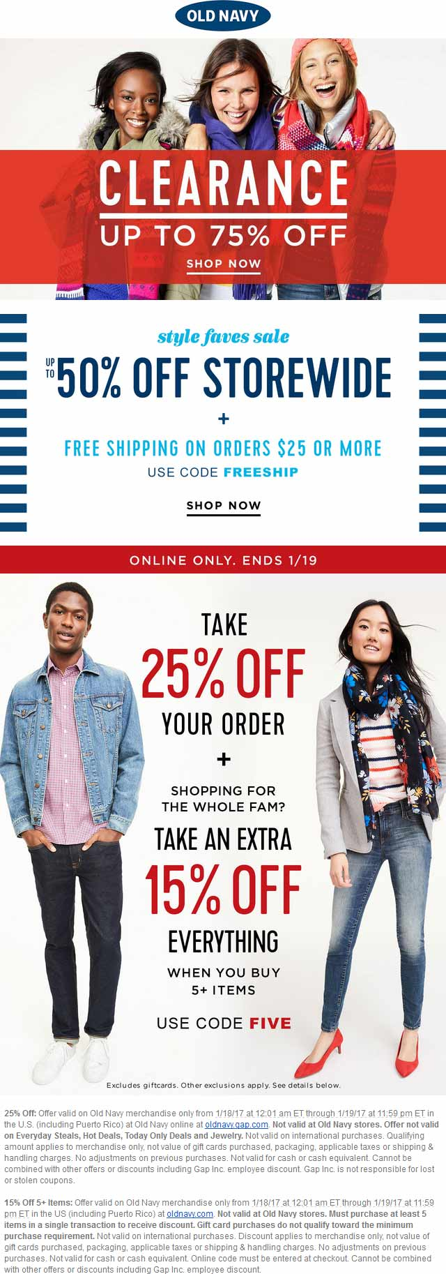 OldNavy.com Promo Coupon 25-40% off online at Old Navy via promo code FIVE