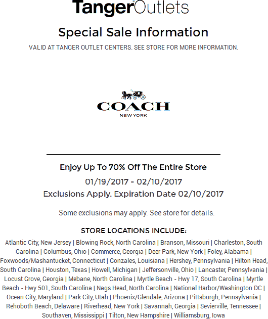 Coach.com Promo Coupon 70% off sale going on at Tanger Outlet Coach locations