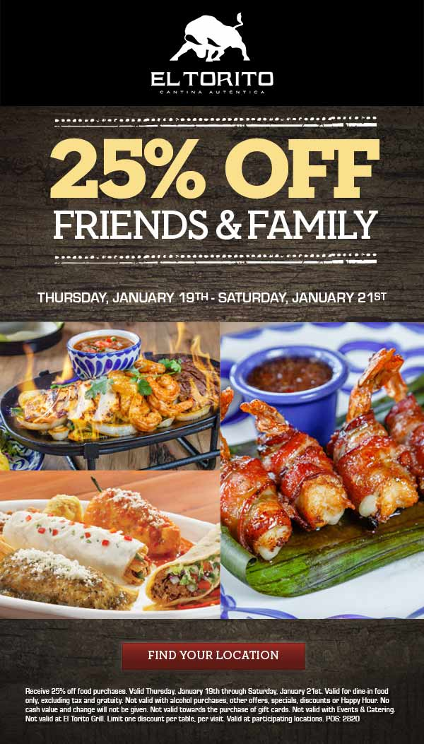 ElTorito.com Promo Coupon 25% off at El Torito cantina restaurants