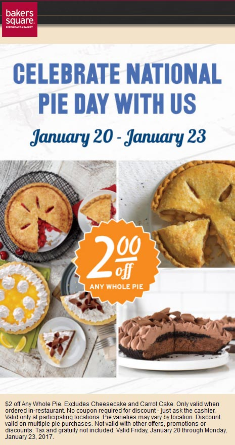 BakersSquare.com Promo Coupon $2 off pie at Bakers Square restaurants