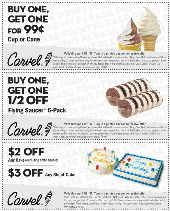 12 discounts for Carvel Ice Cream, 10 printable coupons on RetailMeNot. Today's top deal: Buy One Classic Soft Serve Sundae, Get One Free on Wednesdays.