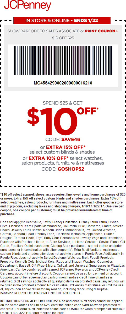 JCPenney.com Promo Coupon $10 off $25 at JCPenney, or online via promo code SAVE46