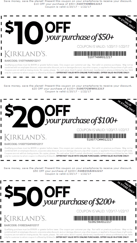Kirklands.com Promo Coupon $10 off $50 & more at Kirklands