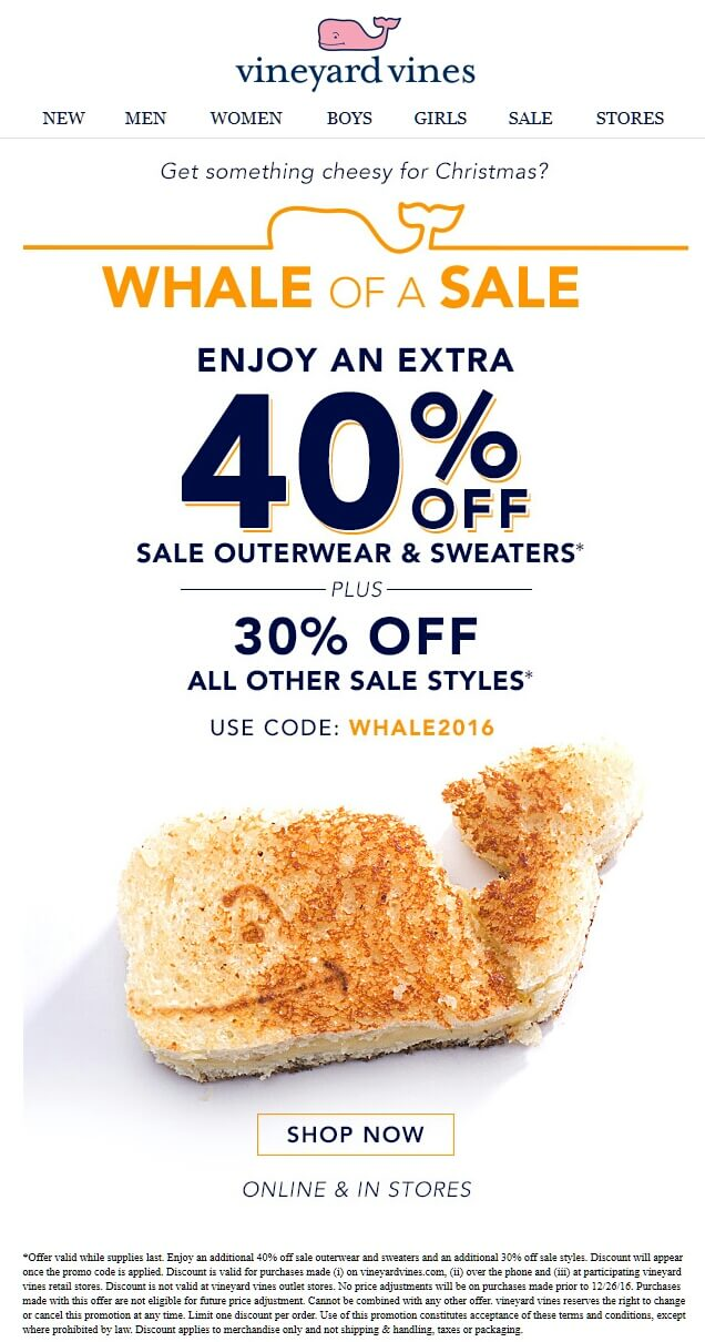 VineyardVines.com Promo Coupon Extra 30-40% off sale styles at Vineyard Vines, or online via promo code WHALE2016