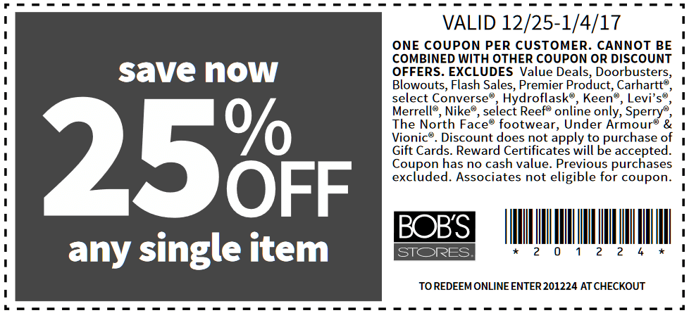 BobsStores.com Promo Coupon 25% off a single item at Bobs Stores, or online via promo code 201224