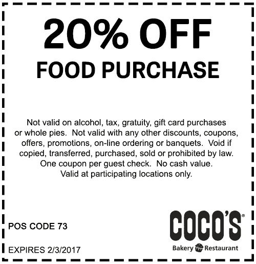 Cocos.com Promo Coupon 20% off at Cocos bakery restaurant