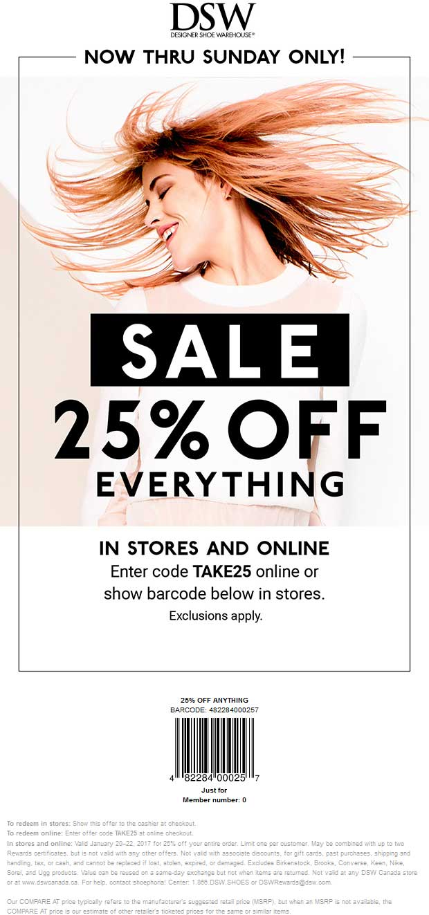 DSW Shoes Coupon August 2018 25% off everything at DSW Shoes, or online via promo code TAKE25