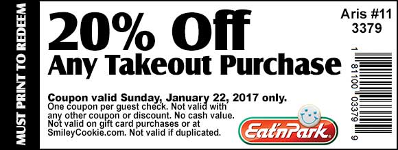 EatnPark.com Promo Coupon 20% off takeout Sunday at Eat n Park restaurants