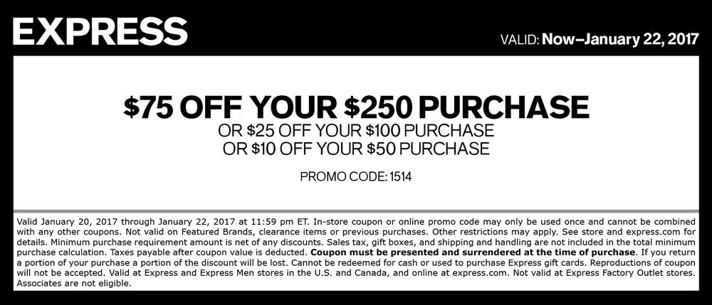 Express.com Promo Coupon $10 off $50 & more at Express, or online via promo code 1514