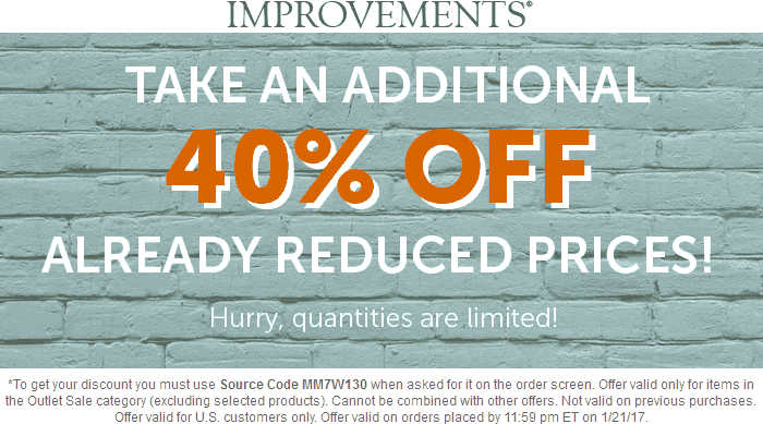 Improvements.com Promo Coupon Extra 40% off the outlet items online today at Improvements catalog