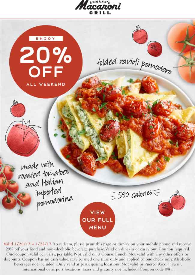 MacaroniGrill.com Promo Coupon 20% off at Macaroni Grill restaurants