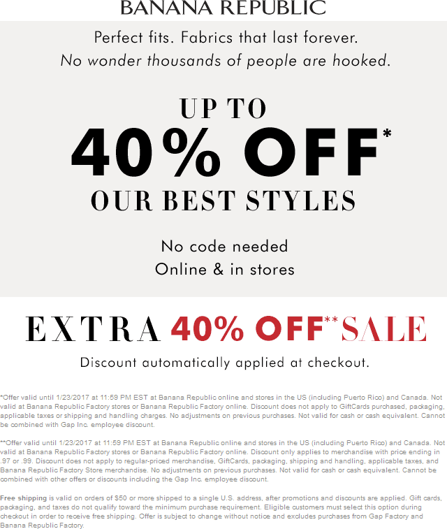 Banana Republic Coupon December 2018 Extra 40% off sale items & more at Banana Republic, ditto online