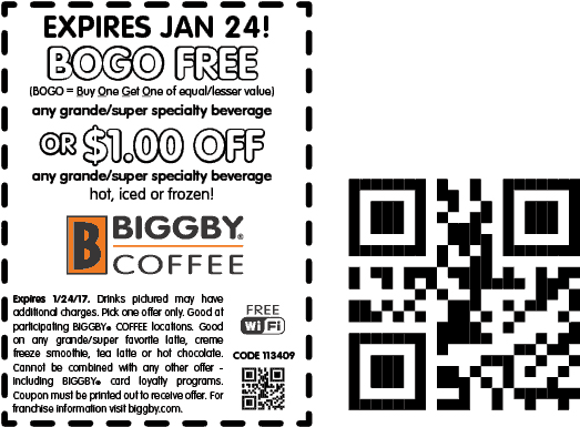 BiggbyCoffee.com Promo Coupon Second drink free at Biggby Coffee