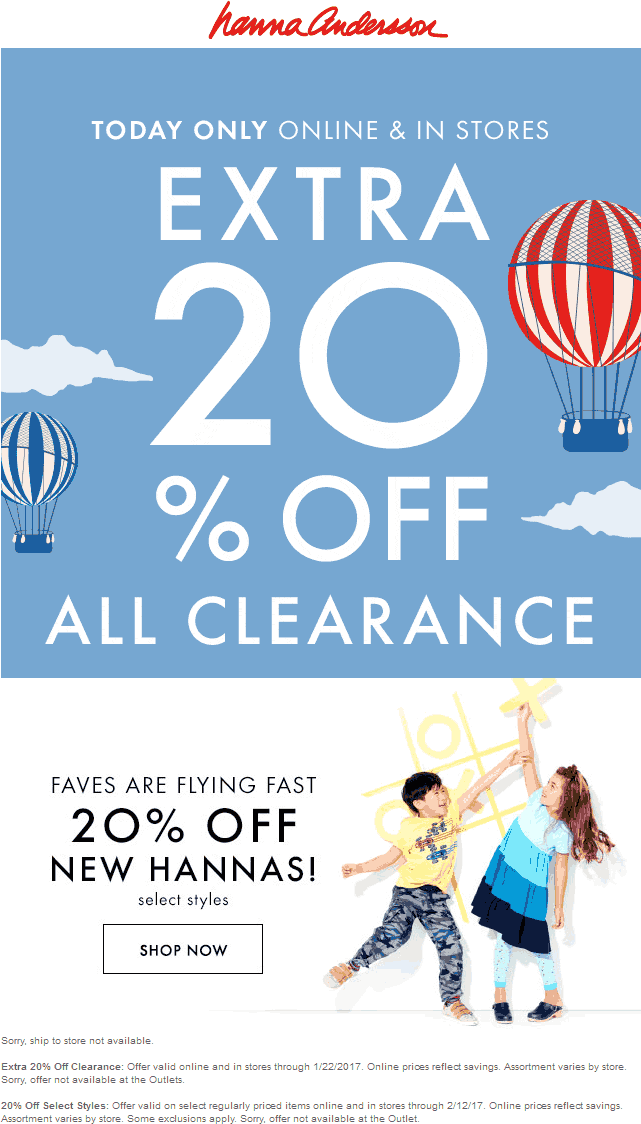 HannaAnderson.com Promo Coupon Extra 20% off clearance today at Hanna Anderson, ditto online