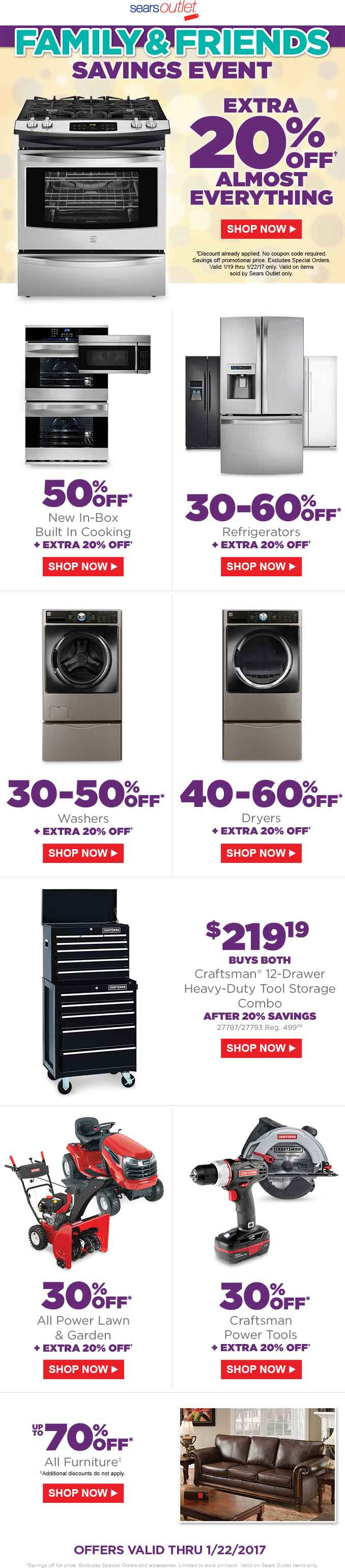 SearsOutlet.com Promo Coupon Extra 20% off today at Sears Outlet