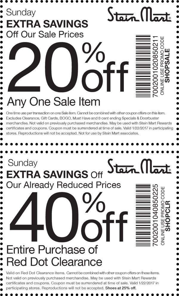 SteinMart.com Promo Coupon Extra 20% off a sale item & more today at Stein Mart, or online via promo code SHOPSALE