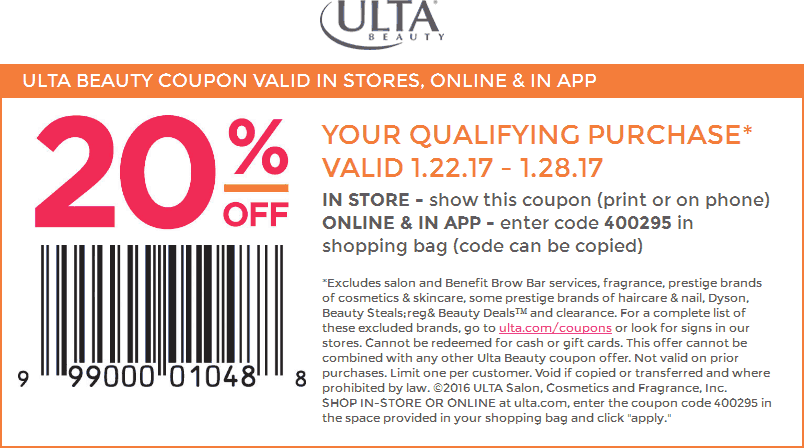 UltaBeauty.com Promo Coupon 20% off at Ulta Beauty, or online via promo code 400295