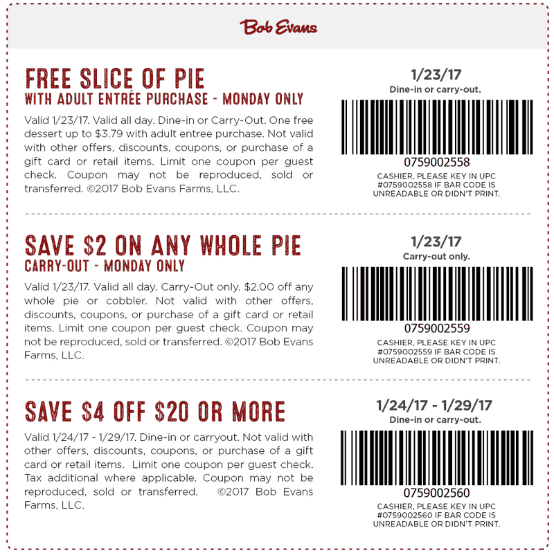 BobEvans.com Promo Coupon Free pie & $4 off $20 at Bob Evans restaurants