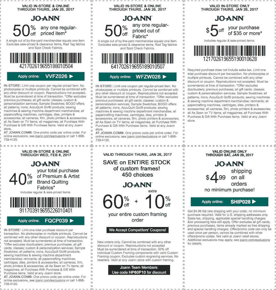Jo-AnnFabric.com Promo Coupon 50% off a single item & more at Jo-Ann Fabric, or online via promo code VVFZ026
