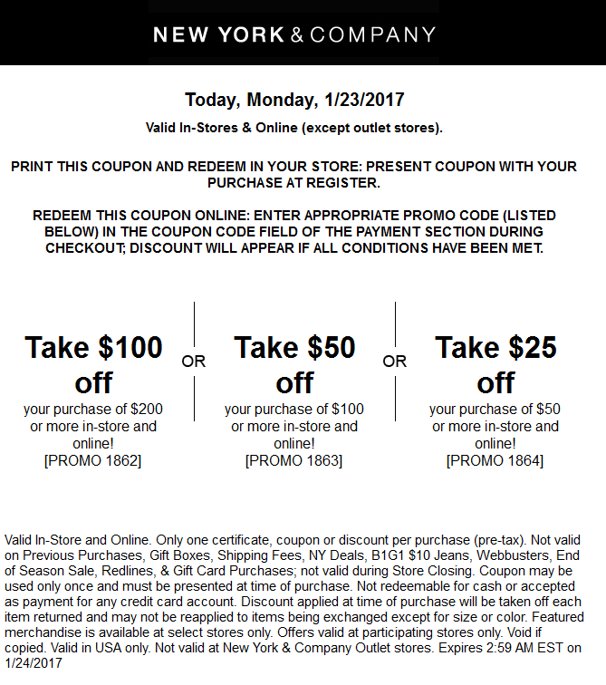 NewYork&Company.com Promo Coupon $25 off $50 & more today at New York & Company, or online via promo code 1864