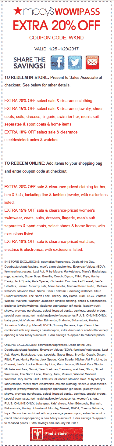 Macys Coupon February 2019 Extra 20% off at Macys, or online via promo code WKND