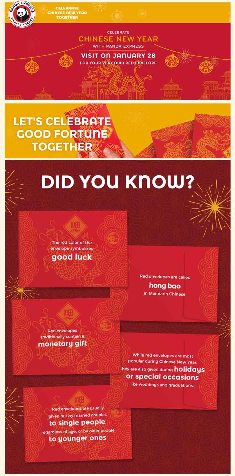 Panda Express Coupon December 2018 Red envelope giveaways Saturday at Panda Express restaurants