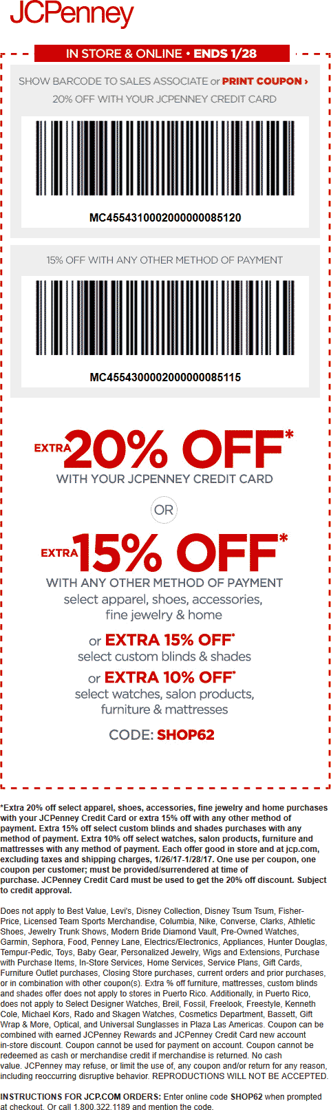 JCPenney Coupon August 2018 15% off at JCPenney, or online via promo code SHOP62
