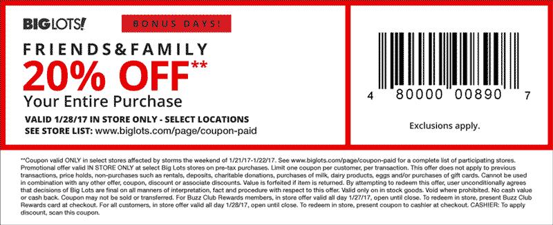 Big lots printable coupon