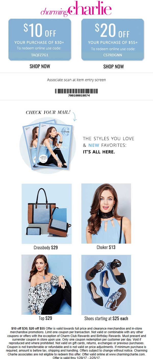 Charming Charlie Coupon December 2018 $10 off $30 & more at Charming Charlie, or online via promo code TAQFZ7G1