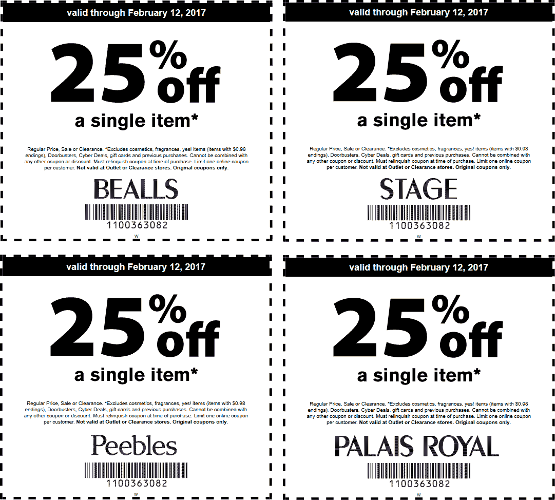 Stage Coupon October 2018 25% off a single item at Peebles, Bealls, Palais Royal & Stage stores
