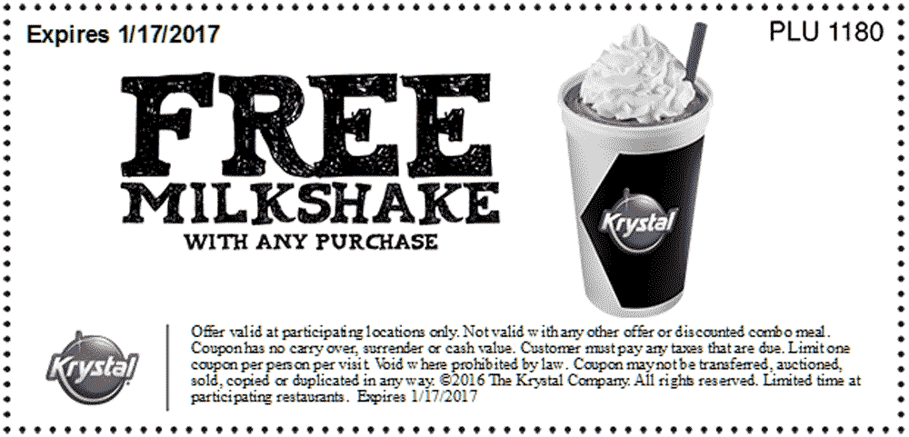 Krystal.com Promo Coupon Free milkshake with any order at Krystal restaurants