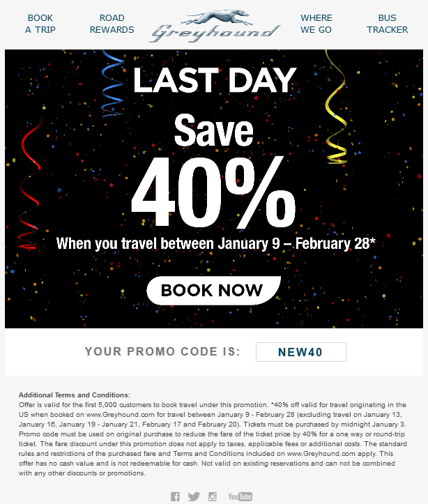 Greyhound.com Promo Coupon 40% off today at Greyhound bus lines via promo code NEW40