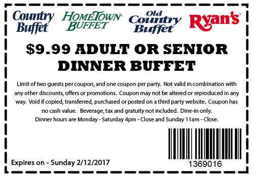 old country buffet coupons 10 dinner buffet at ryans hometown rh thecouponsapp com