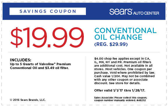 Oil Change Coupon October 2019 $20 oil change at Sears Auto