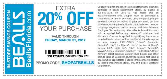 Bealls.com Promo Coupon Extra 20% off at Bealls, or online via promo code SHOPATBEALLS