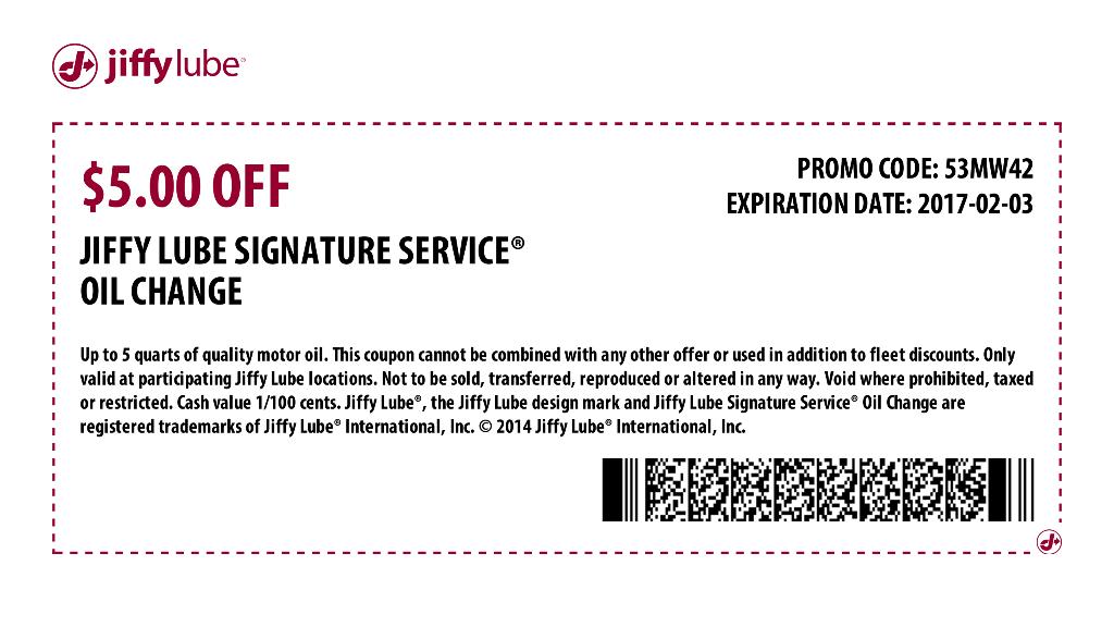 JiffyLube.com Promo Coupon $5 off an oil change at Jiffy Lube